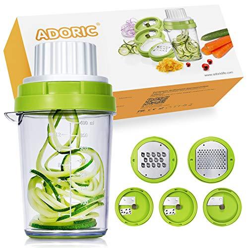 Adoric Spiralschneider NEU 5 in 1 Küchehelfer 2020 Gemüse Spiralschneider, Gemüse Reibe Gemüsehobel für Karotte, Gurke, Kartoffel,Kürbis, Zucchini, Käse, Schokolade