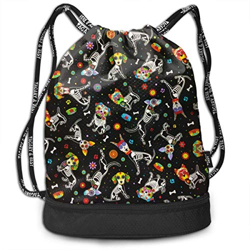 Men & Women Premium Polyester Drawstring Bag Sugar Skull Floral String Bag Theft Proof Lightweight For School Soccer Baseball Bag Large For Camping, Yoga Runner