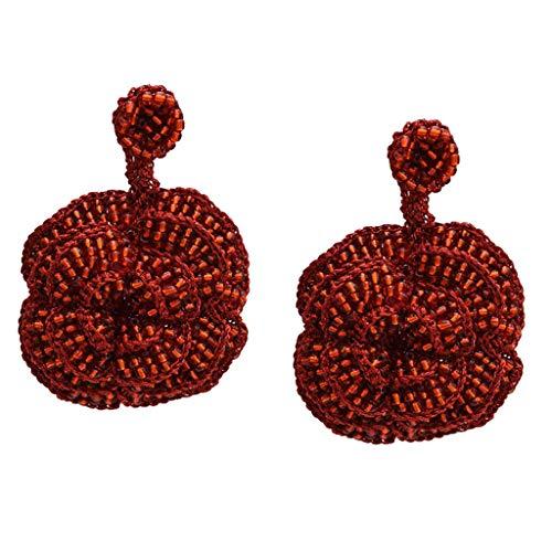 Baoblaze Elegante, Grande, Gota, Pendientes, Pendientes, Mujeres, Colgantes, Pendientes de Botón, Joyería - Rojo