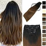 Clip in Hair Extensions Human Hair Natural Black To Medium Brown For Black Women 18Inch Soft Human Remy Hair Extensions Clip Ins Thick Full Head 9A Grade 120g 7PCS