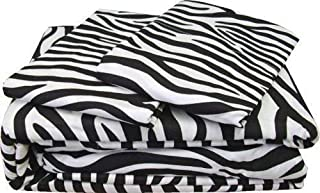 DreamLinen Short Queen, Zebra Print 100% Cotton 4-Piece Bed Sheet Set Cotton 400 TC Comes with 15 inches deep Pocket Fitted Sheet Ultra Soft, Luxury Sheets
