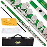 120-GR - GREEN/NICKEL Keys Closed C Flute Lazarro+Pro Case,Care Kit - 10 COLORS Available ! CLICK on LISTING to SEE All Colors