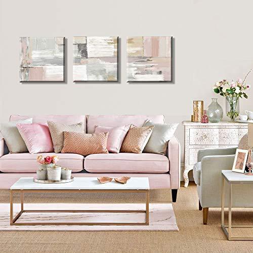 Cuadros en Lienzo Impresion Color Gris con Rosa 3 Piezas 30x30cm Bastidor de Madera Listo para Colgar Decoracion de la Pared Salon Dormitorio Baño Cocina Pasillo