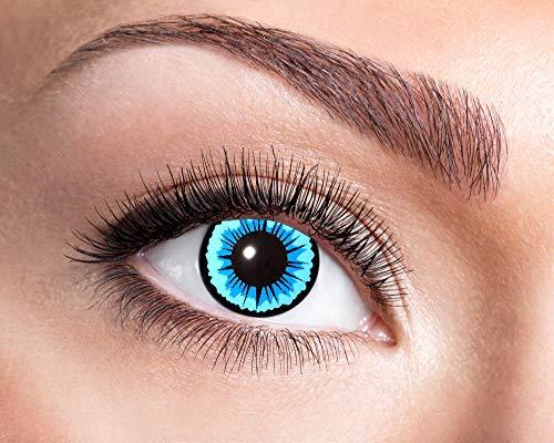 Goldschmidt Kontaktlinsen 3-Monatslinsen Halloween Motiv hochwertig (Blauer Engel, 0.00 Dioptrien)