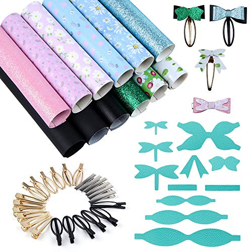 Casiwaft Jewelry Making kit with 4 Colors System Faux Leather Sheets, 26PCS Metal Hair Clips for DIY Craft, Leather Bows, Leather Earring, Kids Headdress