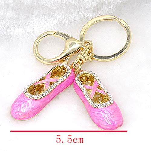 DYL&CDAI Schlüsselanhänger Mode Schlüsselbund rosa Perle malen Ballettschuhe Schlüsselanhänger dreidimensionale Legierung Strass Tasche Anhänger kleinen Schmuck, Foto Farbe, 12 cm