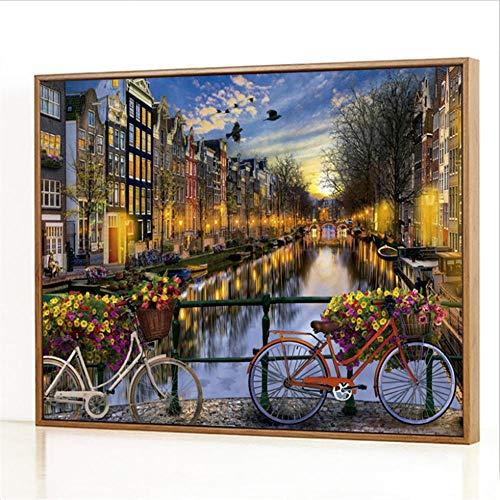 Diy Digitale Olieverfschilderij,Amsterdam Love Schilderen Door Cijfers,Linnen Canvas ,Foto Voor Binnendecoratie - 40x50cm(Fotolijst)