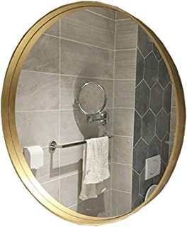 Qing MEI Nordic Bathroom Mirror, Gold Round Mirror Wall-Mounted Bathroom, Toilet, Bathroom Vanity Mirror, Hotel Decorative Mirror (Size : 60CM)