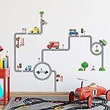 DECOWALL DW-1604 Vehículos en las Carreteras Vinilo Pegatinas Decorativas Adhesiva Pared Dormitorio Saln Guardera Habitaci Infantiles Nios Bebs