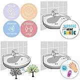 LK Trend & Style Hygiene Set mit 4 x Wandsticker und Fliesenaufkleber + 2 Waschbecken Aufkleber + EIN Zauber Baum-Sticker