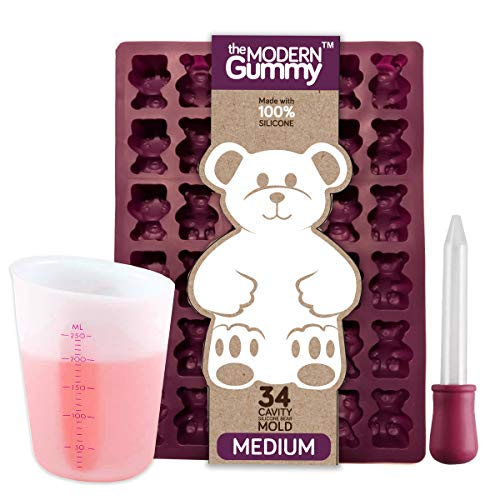 Medium Sized Silicone Gummy Bear Making Kit by The Modern Gummy with dropper and silicone measuring cup