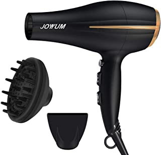 JOYYUM Hair Dryer 1875W Salon Performance AC Motor Ions Hair Blow Dryer/Styling Tool with 3 Heating and 2 Speed Cool Shot Button,Concentrator and Diffuser, Black and Red