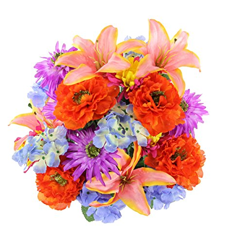 Admired By Nature GPB7357-LAV/OR/PK Faux Ranunculus Lily Hydrangea Mixed Flower Bush, Lavender/Orange/Pink