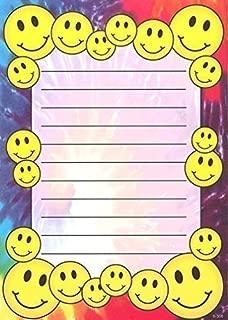 Lil' Pickle Kids Tye-Dye Smiley Camp Camp Stationery, 10 Pack w/Stickers & Pen
