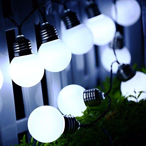 Guirlande Lumineuses Solaire d'extérieur,KINGCOO 3M G50 20leds Ampoules Globe Solaires Lampes à Cordes Décoratives avec 8 Modes éclairage D'ambiance pour Fête Noël Jardin Maison Mariage(Blanc)