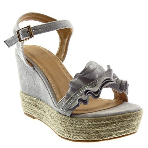 Angkorly - Damen Schuhe Sandalen Espadrilles - Plateauschuhe - mit Rüschen - Strass - Seil Keilabsatz high Heel 11 cm - Lila WH875 T 40