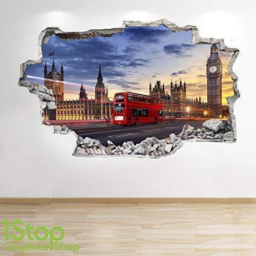 1Stop Graphics Shop Londra Adesivo da Parete 3D Look - Salotto Camera da Letto Autobus DO Londra da Parete, Decalcomania Z6 - Large: 70 cm x 111 cm