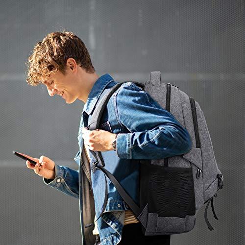 Myhozee Rucksack Herren Laptop Rucksack 15.6 Zoll Wasserdicht Schulrucksack Jungen Business Reisen Rucksack Arbeit Business Wandern Urlaub Sport, 22-35L,Grau