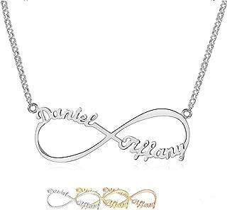 Collar con Nombre Personalizado de la Personalizado Infinito Collar 925 Plata de Ley 2 Name of Woman Joyas para Mujer