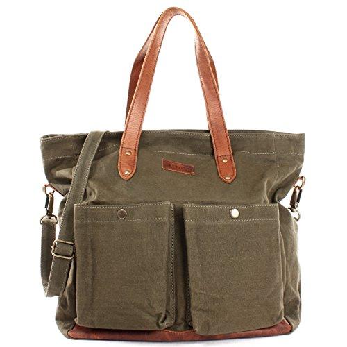 LECONI XL Shopper aus Canvas & Leder Vintage-Style Weekender Umhängetasche große Damen Tasche unisex Schultertasche Handgepäck-Tasche Beuteltasche 35x39x20cm grün LE0040-C