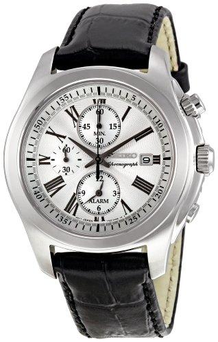 Seiko - SNAE29P2 - Montre Homme - Quartz Chronographe - Alarme/Chronomètre - Bracelet Cuir Noir