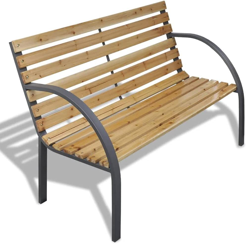 vidaXL Outdoor Garden Bench Wooden Iron Metal Curved Back/Armrests Furniture