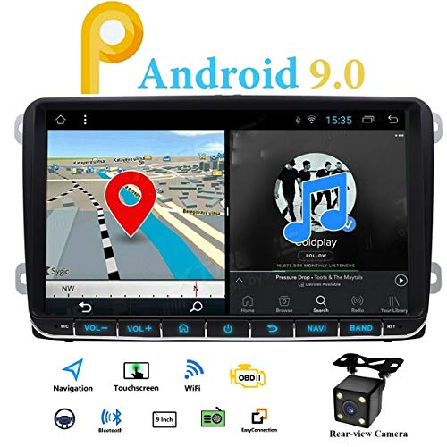 Unidad de radio para coche Android 9.0 2 Din de 9 pulgadas con DSP WiFi para Volkswagen VW Passat Polo Golf Caddy Touran Jetta T5 Seat Sharan MK5 MK6 EOS Car Stereo Bluetooth Sat Nav GPS WiFi USB