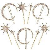 Horquillas Luna Estrella Accesorios Vintage Hair Pin Rhinestone Diamantes brillantes para Mujeres Niñas Cabello Pasadores 9 Piezas