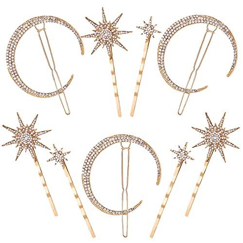 Horquillas Luna Estrella Accesorios Vintage Hair Pin Rhinestone Diamantes brillantes para Mujeres Niñas Cabello Pasadores 9...