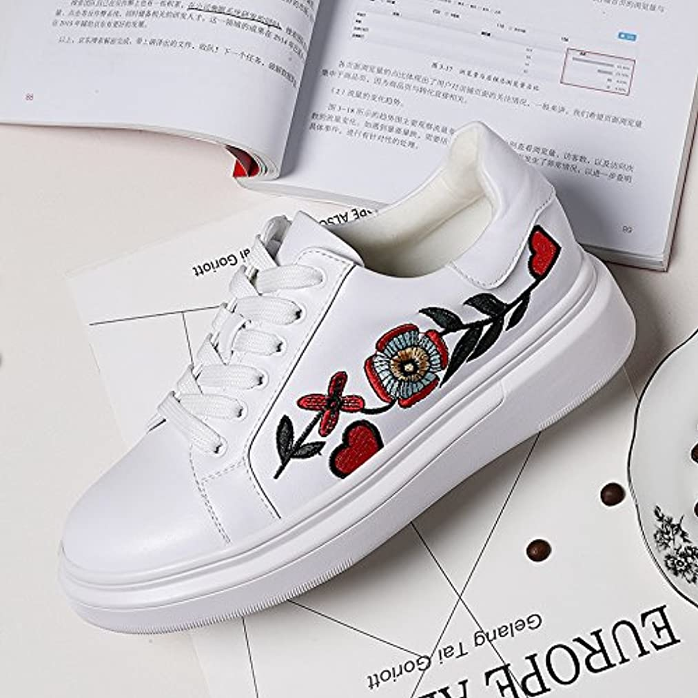 GTVERNH Flat Shoes Female Spring White Round Increased Students Harajuku Sports Shoes Lace Embroidery Shoes Casual Shoes