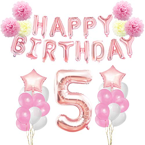 KUNGYO Birthday Decorations Set - Pink Gold 5th Happy Birthday Party Decorations Kit for Girls Giant Number 5 Helium Balloons Ribbons Pom Poms