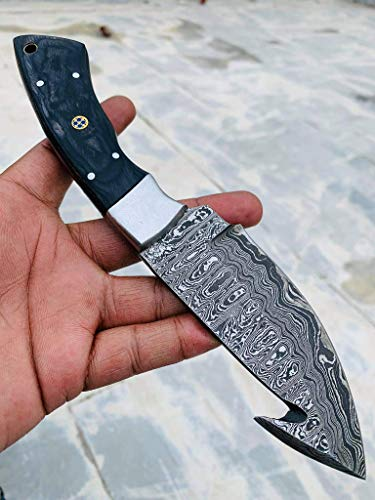 09 Bandle Custom Handmade Hunting Knife Camp Knife Damascus Steel Gut Hook Skinning Knife EDC 9'' Overall Black Exotic Wood with Custom Sheathe