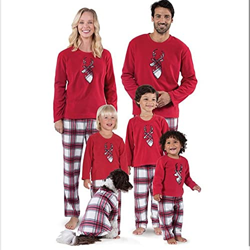 Family Christmas Pajamas Matching Pjs Sets Deer Red Long Sleeve Tee Plaid Pants Loungewear Outfits (Color : Dad s)