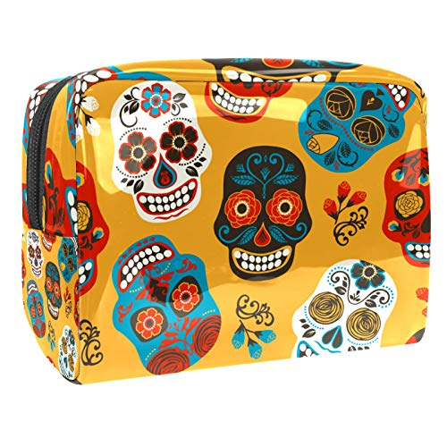 Sacchetto di trucco con teschi di zucchero Organizzatore cosmetico Multifuncition Viaggio Impermeabile Toiletry Bag con cerniera per le donne