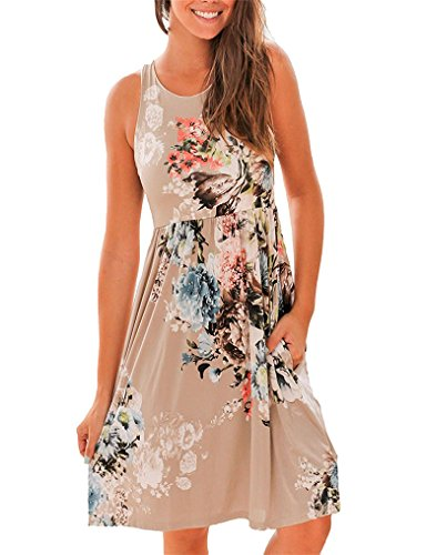 OURS Women's Floral Boho Beach Sundresses with Pockets for Spring XL Brown