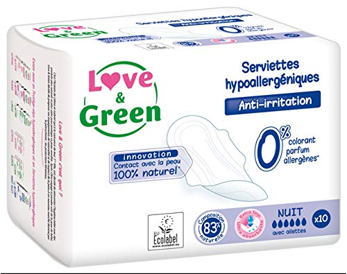 Love & Green Serviettes Hypoallergéniques Nuit 10 Serviettes