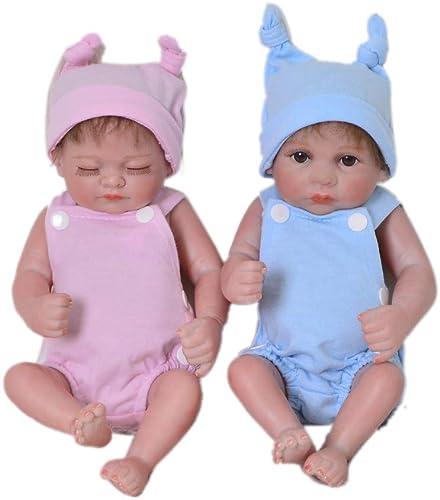 Babypuppen,11 '' 27 cm Realistische Zwillinge Rebornpuppe Voll Silikon   Lebensecht Schlafendes mädchen und Offene Augen Junge Erdnuss Baby Doll Für Kindergeschenk,  nen + Schlie  Sie Augen