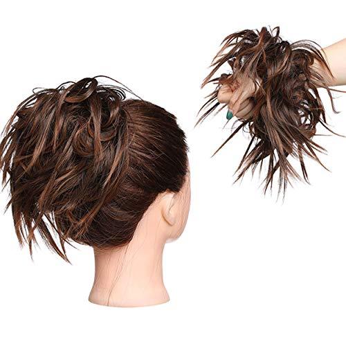 XXL Postiche Cheveux En Caoutchouc Chouchou Chignons VOLUMINEUX Bouclés Ou Chignon Décoiffé Extension a clip Cheveux Naturel Auburn lumière à marron