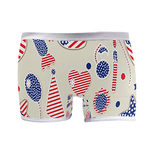 FANTAZIO American Flag Heart Ball Basics Damen Boxershorts Modern Boy Short Gr. 2-4 Jahre Old, 1