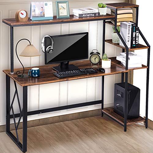 Escritorio con estante, mesa industrial para ordenador con 4 estantes, estantería para libros, mesa de oficina, mesa de trabajo grande para espacios pequeños mesa de madera estable con marco de metal