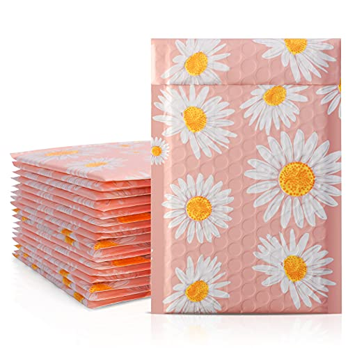 Metronic 4x8 Inch 50 Pack Bubble Mailers, Fancy Daisies Poly Bubble Mailer Cute Small Mailer,Bubble Envelopes,Padded Mailers for Shipping Jewelry,Lips,Cosmetic,DVD,Waterproof, Self-Seal Adhesive