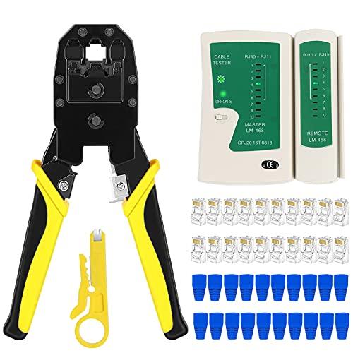 RJ45 Crimp Tool kit, Cat5 Cat5e Crimp Tool Set,...