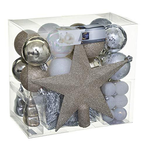 Féérie Lights & Christmas Kit déco pour Sapin de Noël - 44 Pièces - Or, Blanc et Gris