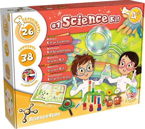 Science4You - Primo Kit Scientifico, Giocattolo Educativo, 26 Esperimenti e Libretto di Istruzioni in 5 Lingue, Crea Bolle di Sapone Giganti e Impara i Colori Primari, per Bambini +4 Anni