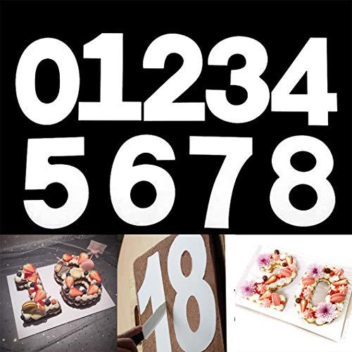 Rolin Roly 9PCS 12 Inch Nummer Kuchen schablonen Anzahl Buchstabe Backen Kuchen Formen Kuchenform 0-8 Zahlen Set Ausstechformen Zahlen für Geburtstag Party Dekoration