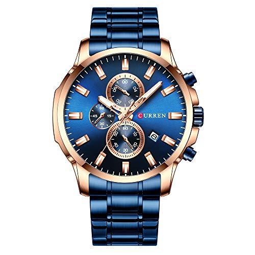 CURREN 8348 Quartz Man Armbanduhren mit Edelstahlarmband Armbanduhr für Männer Datumsanzeige Kalender DREI Hilfszifferblätter Sekunden-Mikrosekunden-Chronograph Wasserdicht Leuchtzeiger Tragbares