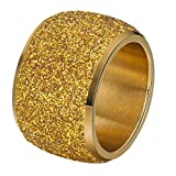 Onefeart Acero Inoxidable(Oro) Anillo para Mujeres niñas Fregar Amplio Diseño Alianza de Boda Oro Tamaño 20