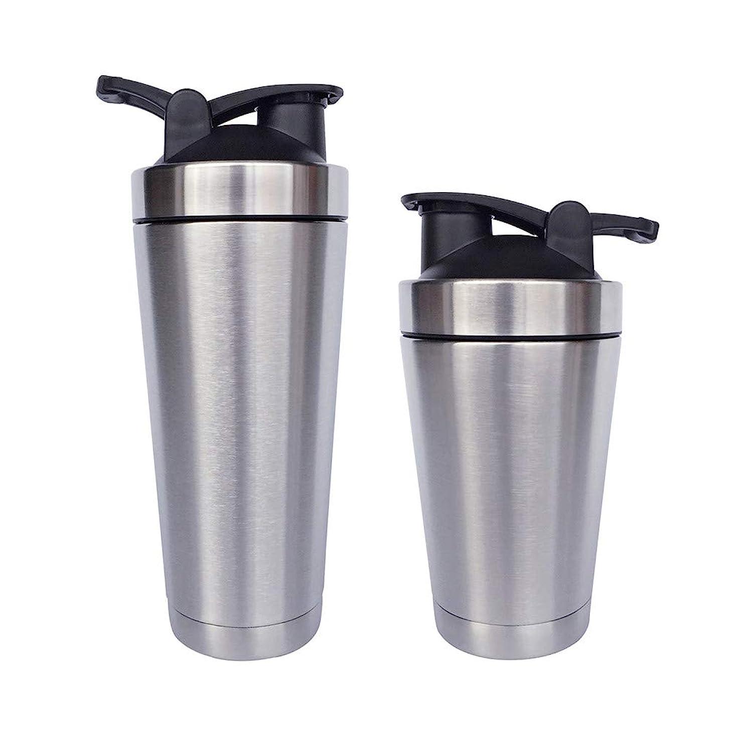 カポック見落とす立ち寄るシェーカーボトル-二重壁ステンレス鋼 & 真空断熱-時間のためのホットまたはコールドドリンクをキープ-臭気耐性抗菌汗プルーフ-環境にやさしい無毒 (銀),500ML