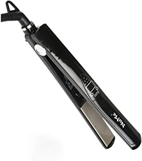 Hair Straightener Professional Glider Ceramic Tourmaline Ionic Flat Iron Straightens and Curls for All Hair Types Plate-Worldwide Voltage Gentleman Black,One inch Floating Plates