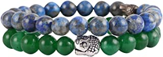 Aatm Natual Healing Gemstone Jade with Lapis Lazuli Bracelet